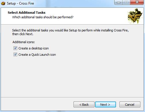 Ejecutar y cerrar el icono de Cross Fire