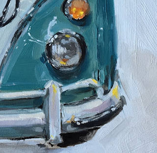 vw bus oil painting
