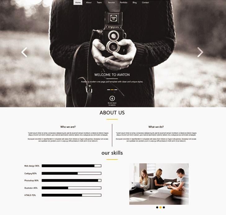 AVATON – Free One Page PSD
