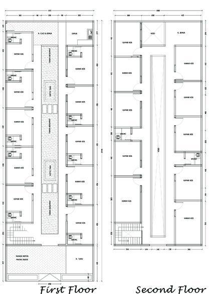 Denah rumah kos sederhana dengan 20 kamar WAJIB BACA