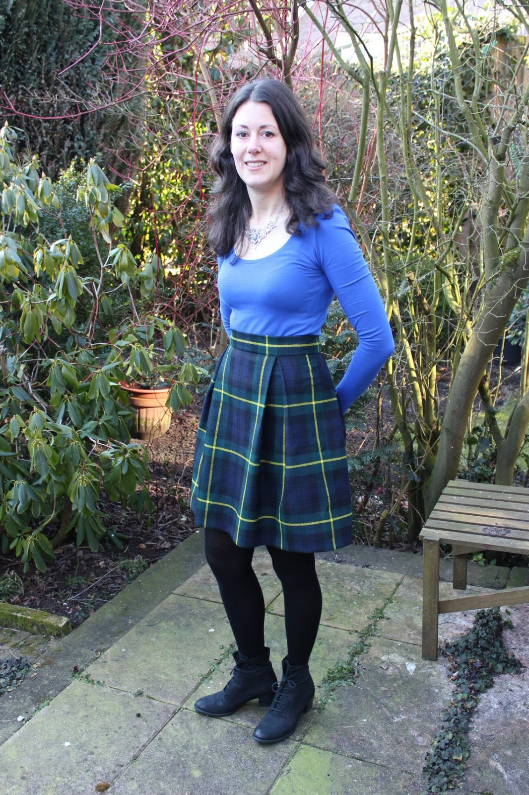 Wool Is Easy Anyway But I Could Also Follow The Tartan Pattern To Cut Straight Determine Height Of Waistband And Length Skirt
