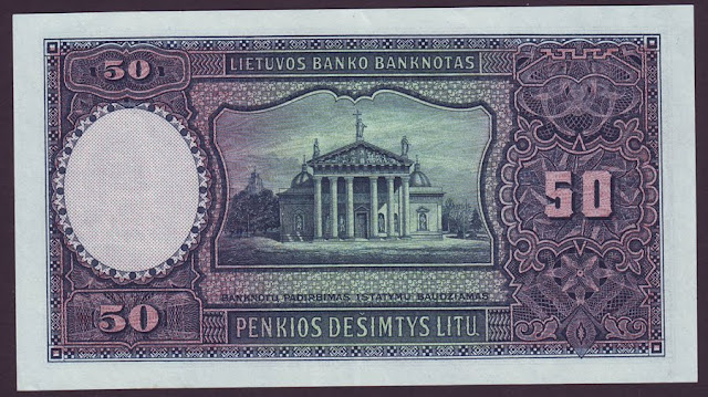 LITHUANIA paper money 50 Litu banknote