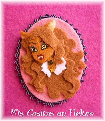 broche, fieltro, Monster High, Clawdeen Wolf, felt