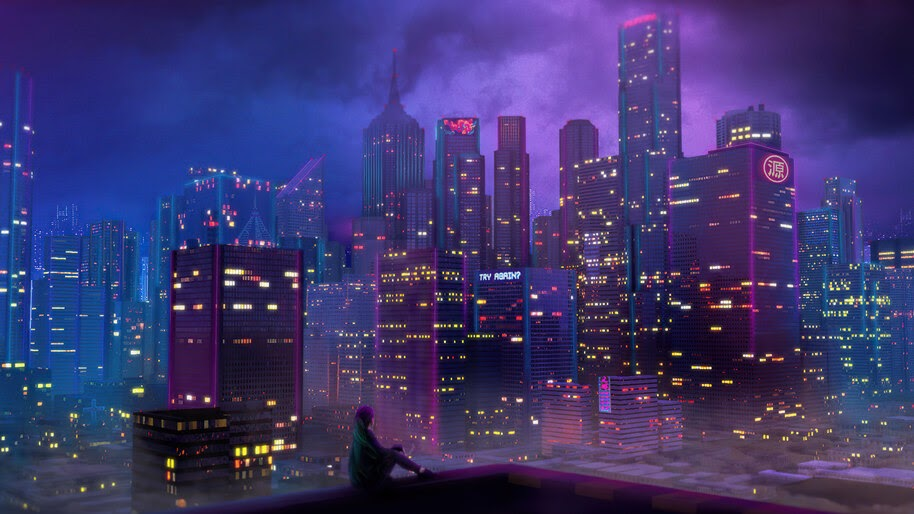 Night, City, Buildings, Scenery, 4K, #6.748