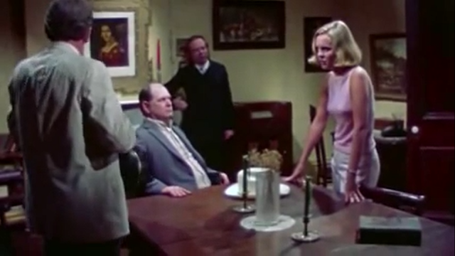 Amanda Post (Susan Bracken) faces off against Judge (Gene Ross), Dr. Crawther (Jim Harrell) and Claude (Larry O'Dwyer) in DON'T OPEN THE DOOR.