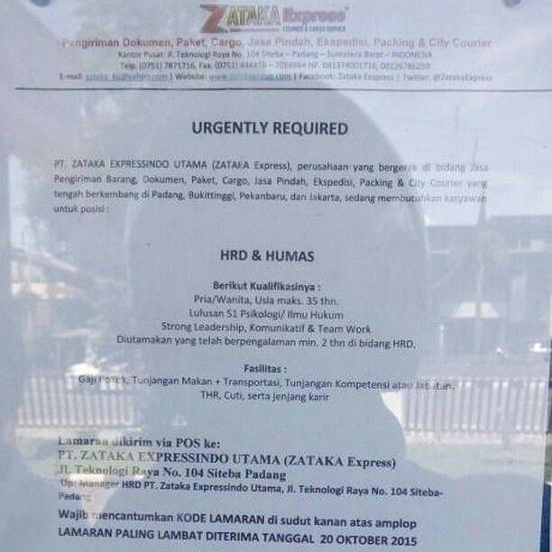 Lowongan Kerja di Padang – Zataka Express – HRD & Humas (Closed 20 Okt'2017)