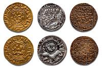 Altın, gümüş ve bakır sikkelerin arkalı önlü görünümleri