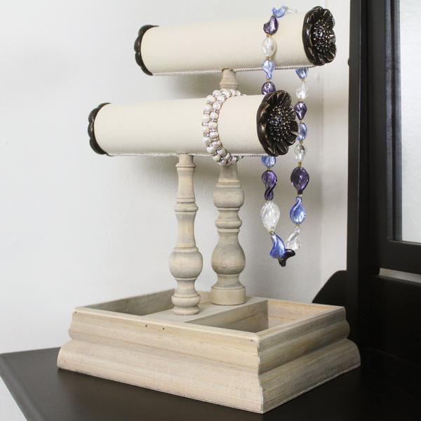 The Wooden Jewelry Stand - Table Top Necklace Holder & Jewelry Display makes a pretty home decor too | NileCorp.com