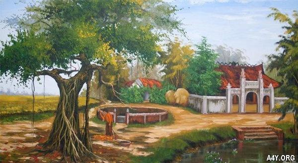tranh cây đa và giếng nước đầu làng