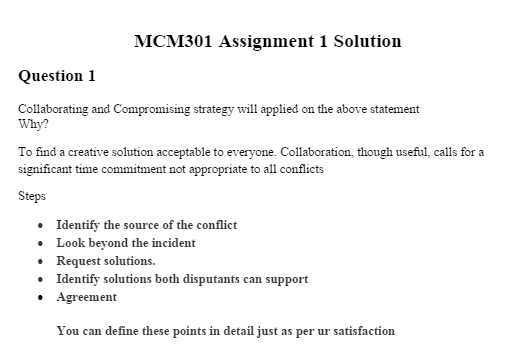 MCM301 Assignment Question No 1 Solution and discussion