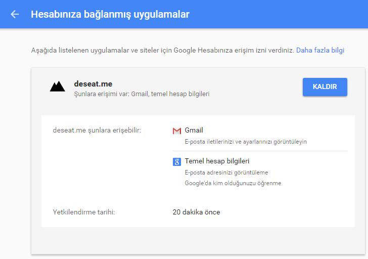 google hesabıma bağlı uygulamalar ve siteleri kaldırma