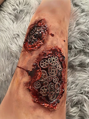 steampunk makeup how to DIY blood gore scary bloody gears through skin special fx