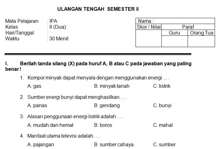 Download Contoh Soal SD/MI Kelas II Mata Pelajaran IPA Semester 2 Format Microsoft Word