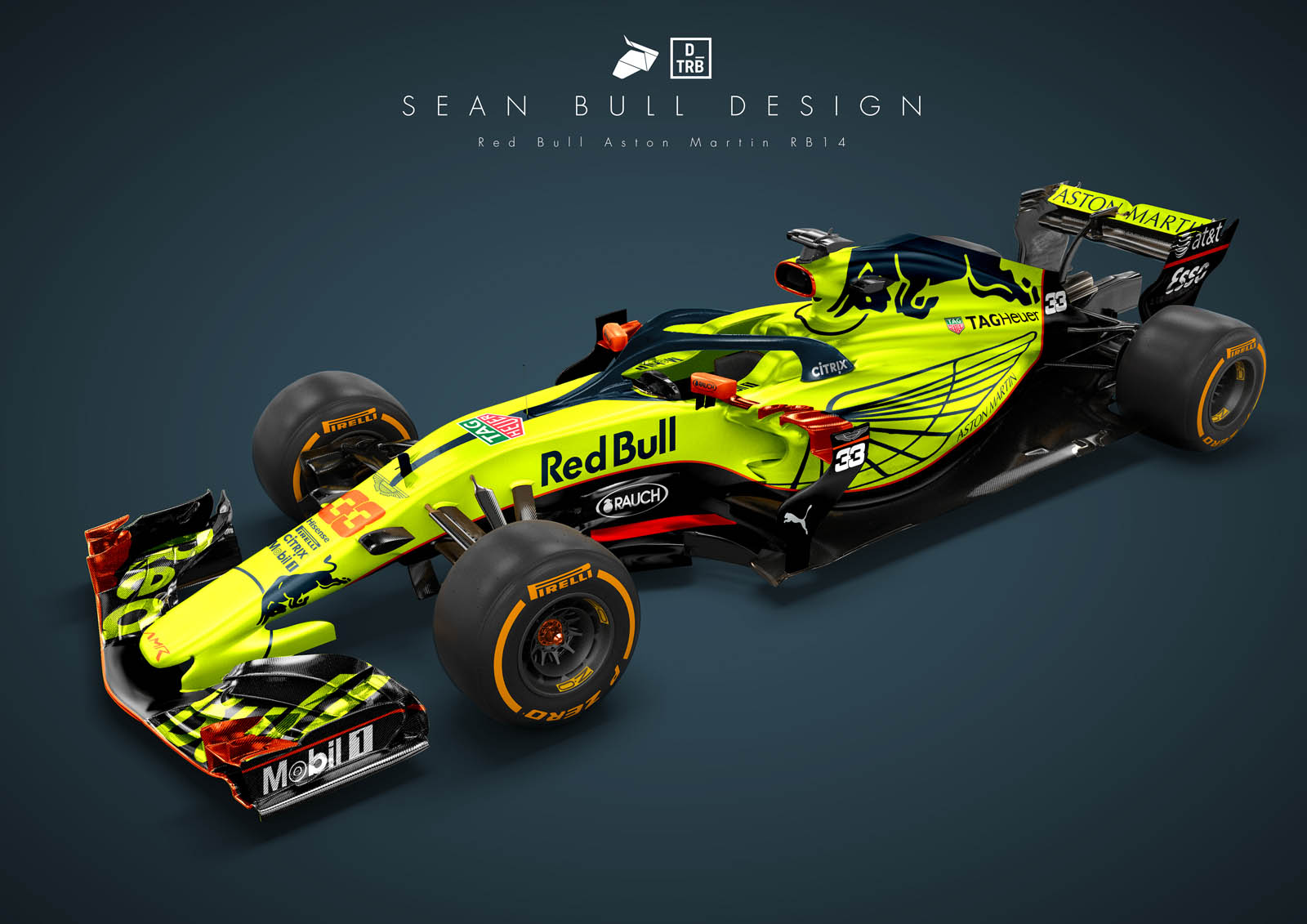 aston martin's neon green might look better on red bull's rb14