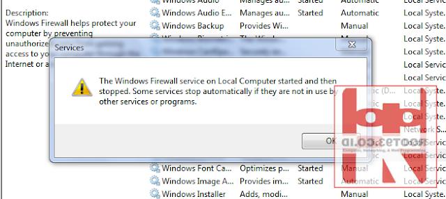 services firewall tidak berjalan