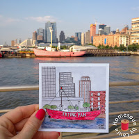 watercolor painting of the Frying Pan lightship at Maritime 66 pier in New York City