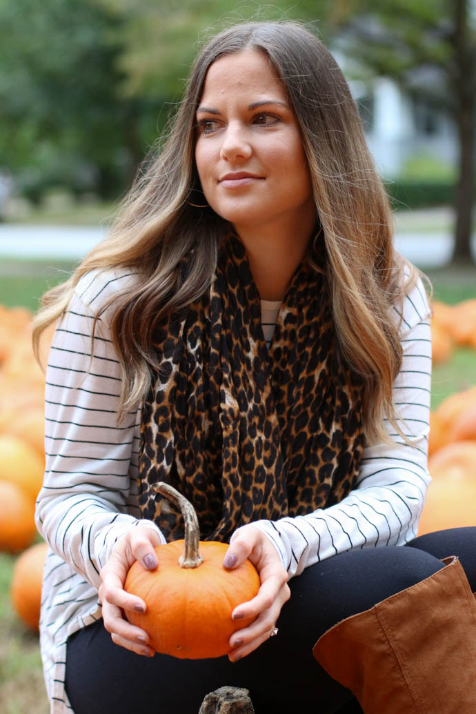 stripe shirt, leopard scarf, the girlish blog, amanda sumner, fall fashion 2017