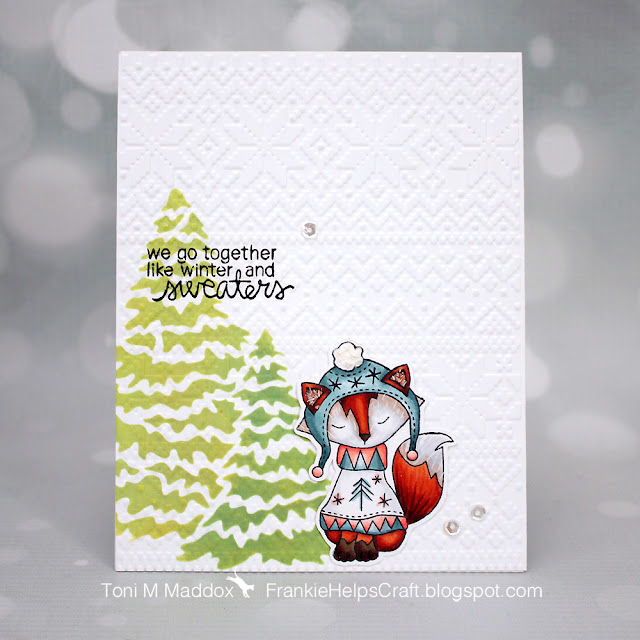 Foxy Winter Sweater Card by January Guest Designer Toni Maddox | Sweater Weather Stamp Set and Evergreens Stencil by Newton's Nook Designs #newtonsnook #handmade