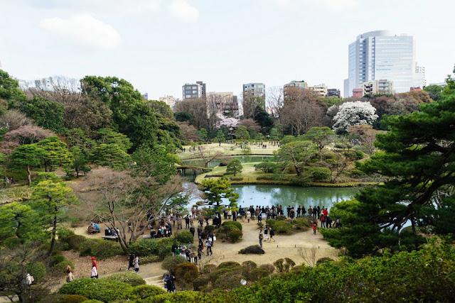 六義園(文京区)の藤代峠(富士見山)からの景色