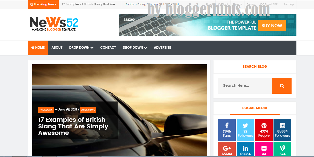 News52 Fully Responsive SEO Blogspot Template Free Download