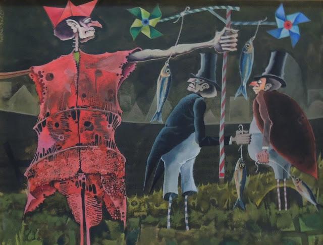 Rovira Brull pintura surrealista entierro sardina