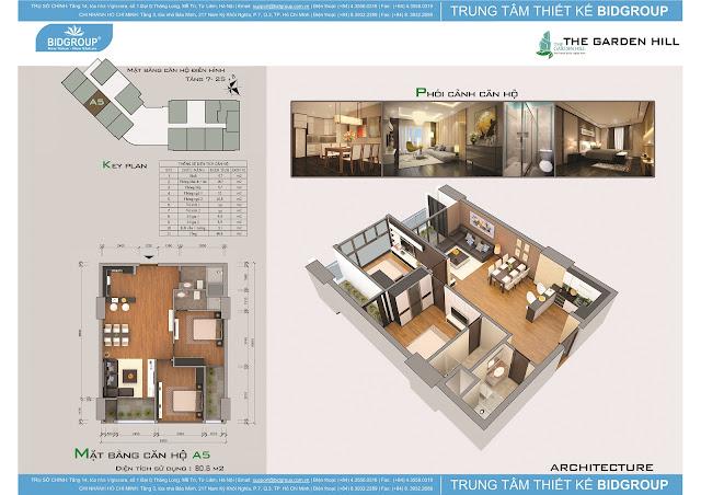 Căn hộ A5 tầng 7-25, diện tích 80m2