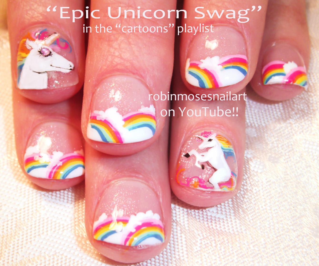 Unicorn Nails Nail Art Design Unicorns With Rainbows Rainbow Bright Horse Cute Animal