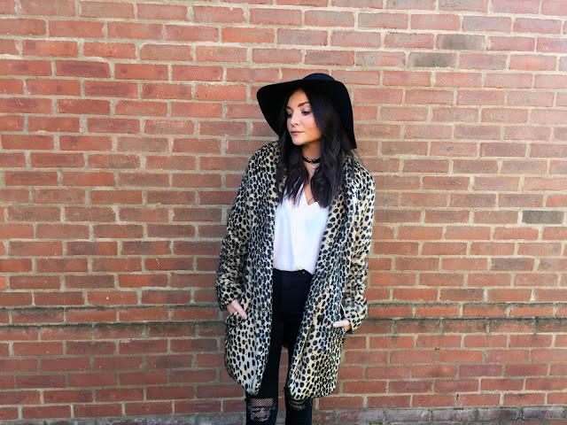 UK style blogger in leopard fur coat