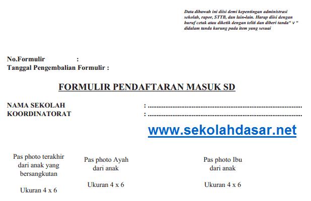 Contoh Formulir Pendaftaran Masuk Sd