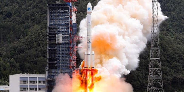 A Long March 3B rocket launches with BeiDou-3 M15 and M16 satellites on October 15, 2018. Photo Credit: Xinhua/Liang Keyan