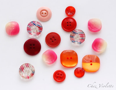 vintage buttons orange collection - the collection of vintage button by Chez Violette