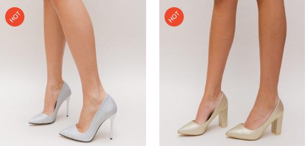Pantofi dama eleganti cu toc ros aurii, argintii din glitter