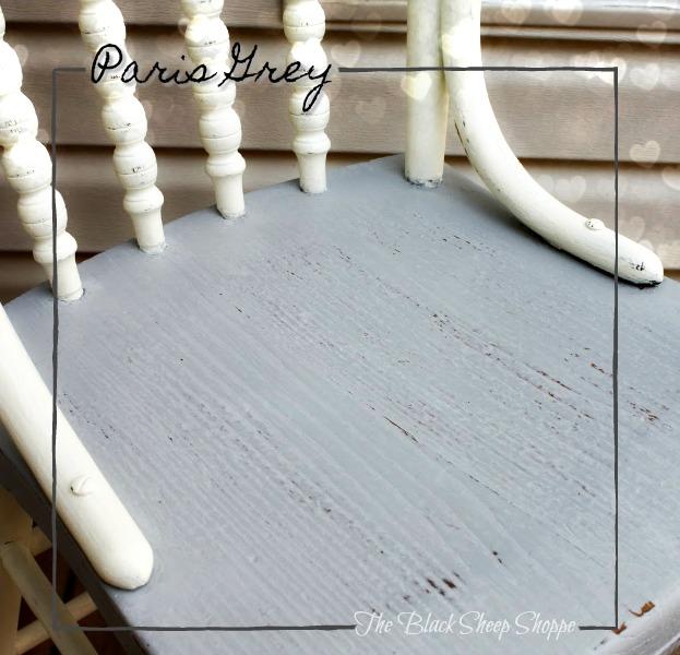 Paris Grey chalk paint on vintage wooden chair.