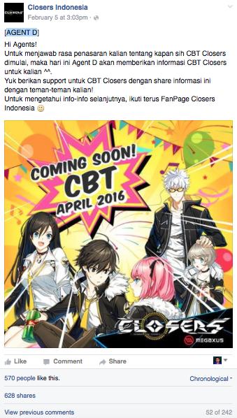 CBT Closers Online Indonesia Akan Dimulai Bulan April 2016