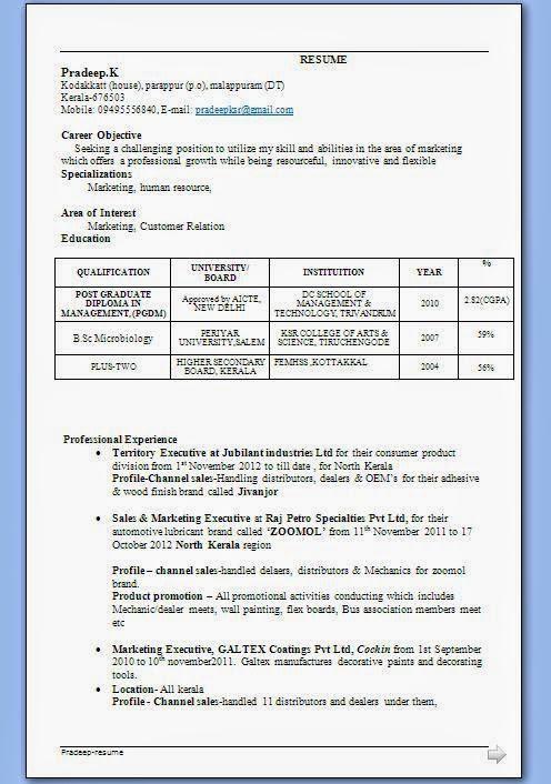 Kerala Resume Samples