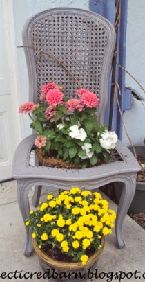 Eclectic Red Barn: Upcycled chair to planter and mums