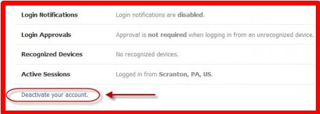 how to deactivate my own fb account