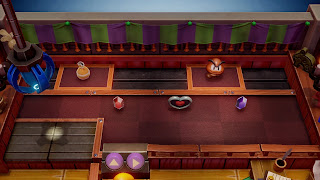 screenshot of the Trendy Game with a Goomba figurine on a moving platform
