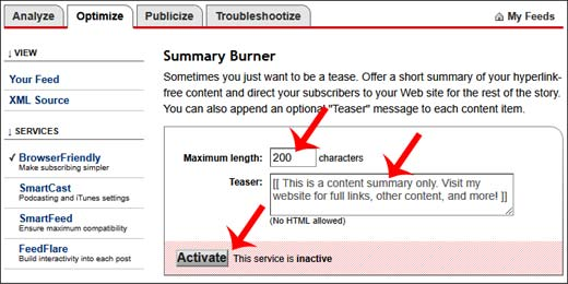 FeedBurner Feed Me Post Link Summary setting kaise kare