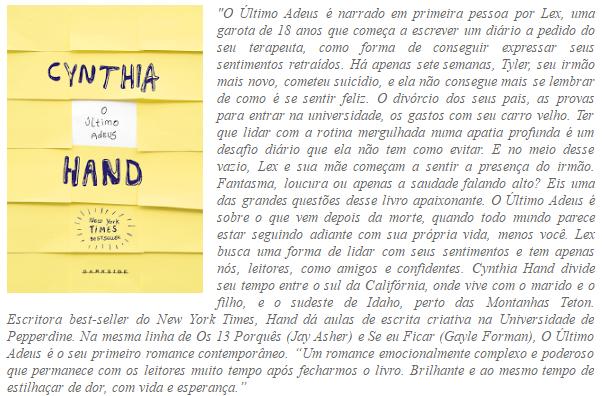 O ULTIMO ADEUS - CYNTHIA HAND
