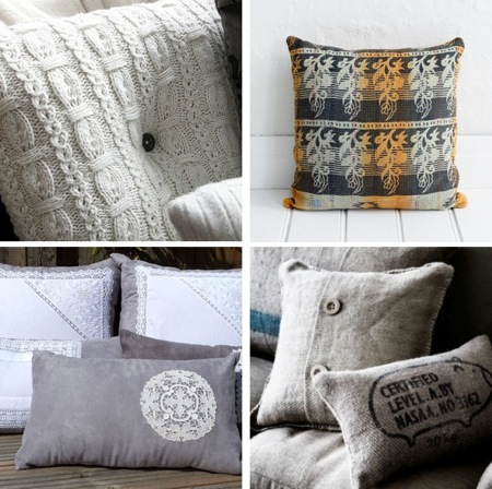 natural modern interiors: Recycled Fabric Cushion Ideas
