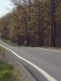 My husband running up a hill