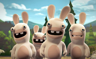 Creepy scary Rabbids staring at camera