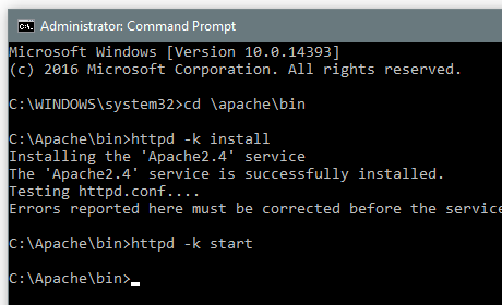 Apache Command Prompt