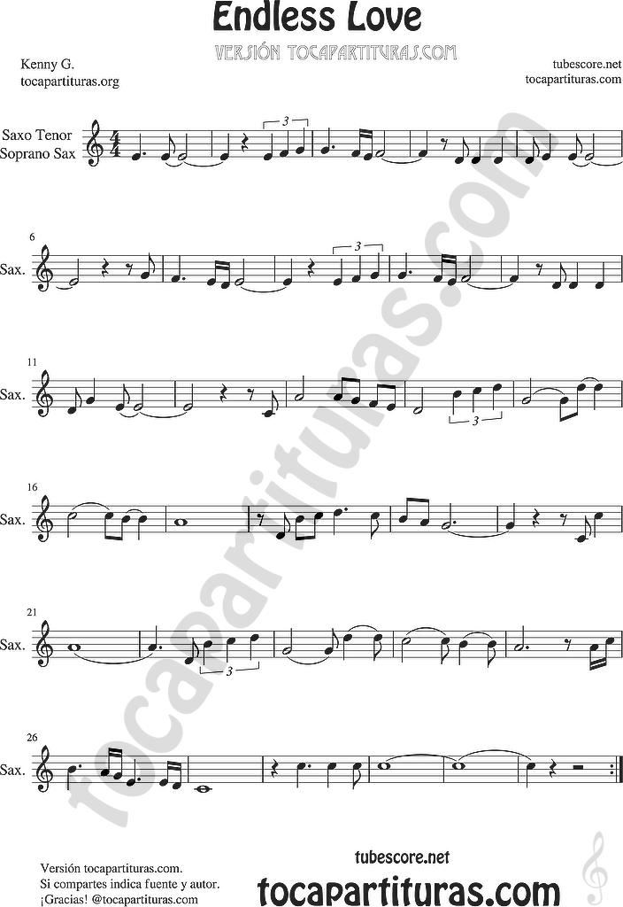 tubescore: Endless Love Sheet Music for Flute, Violin, Alto Sax