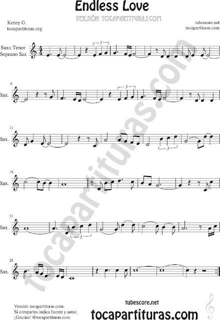 Endless Love Partitura de Flauta, Violín, Saxofón Alto, Trompeta, Viola, Guitarra, Oboe, Clarinete, Saxo Tenor, Soprano Sax, Trombón, Fliscorno, chelo, Fagot, Barítono, Bombardino, Trompa o corno, Tuba...
