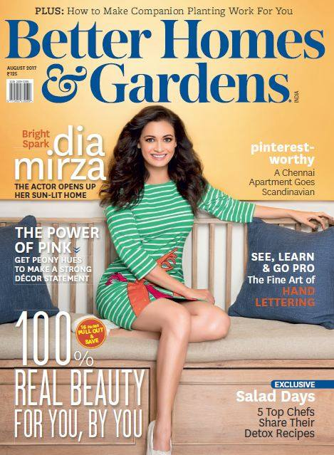 Dia Mirza On The Cover of Better Homes And Gardens Magazine August 2017