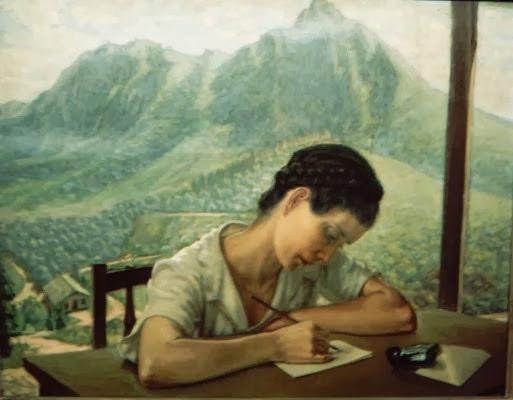 Narciza Manzo e os dois picos do bairro Jaraguá em pintura da década de 1950 ou antes. Foto: acervo Liz Rabello