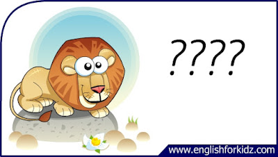 lion flashcard, cartoon lion image, esl flashcard