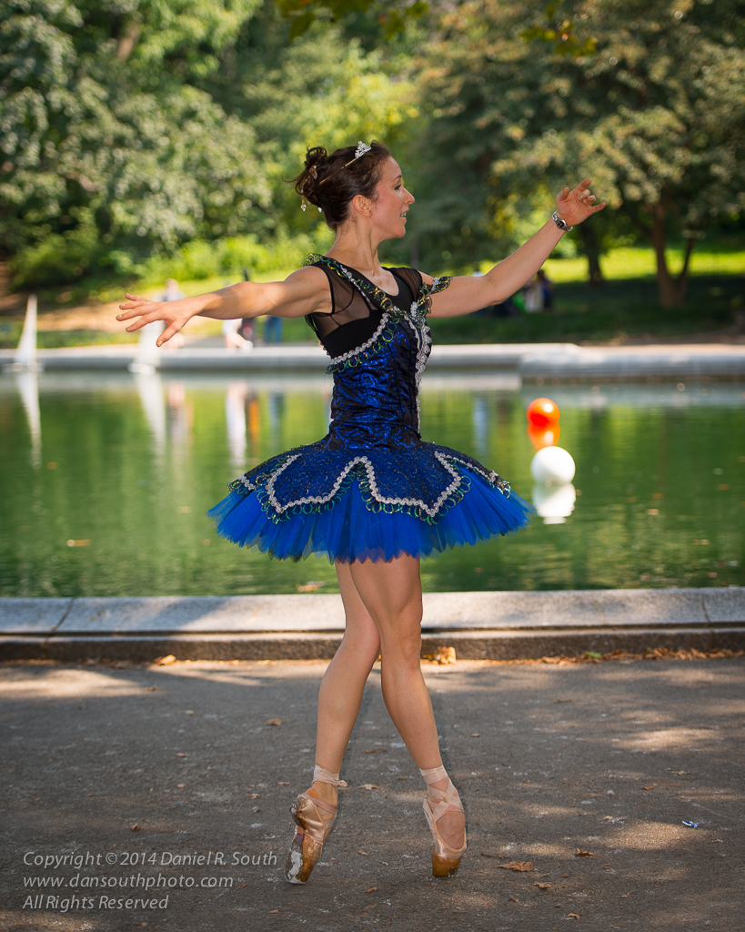 a flash photograph of a ballerina in central park new york by daniel south